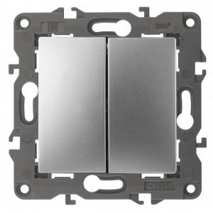 14-1104-03 ЭРА Выключатель двойной, 10АХ-250В, IP20, Эра Elegance, алюминий