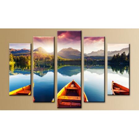 """Модульная картина """"Лодки на фоне озера"""" 80х140 M698"""