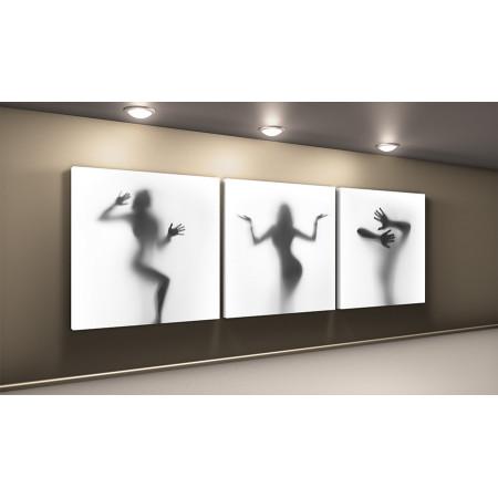 """Модульная картина """"Три девушки за холстом"""" 50х150 КВ75"""