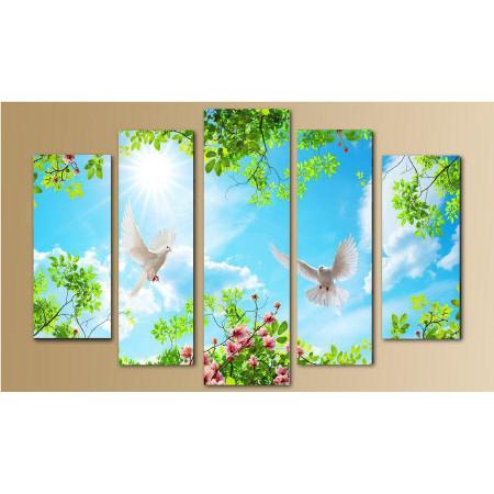 """Модульная картина """"Голуби в небе"""" 80х140 M2415"""