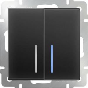 Выключатель двухклавишный проходной с подсветкой (черный матовый)